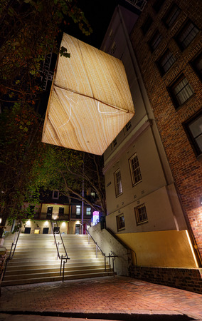 SYDNEY, AUSTRALIA - MAY 26, 2015;  Legacy of Landscape is a huge suspended light made of sandstone and a warm glow emanates from within, conjuring an image of a campfire in a cave. Artist Peter Langford