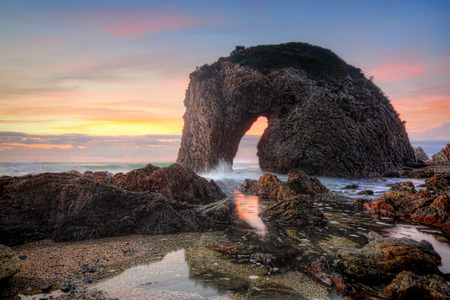 untamed: The spirited horse drinks from the wild untamed ocean.  Horse Head Rock, Bermagui at sunrise