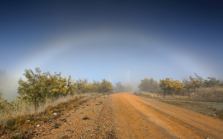 fog white: A heavy winter fog obscured visibility across the outback rural landscape, then suddenly a fog bow appeared, arching across the dirt road lined with flowering wattle -   and in the distance barely visible the wind turbines quietly turn generating clean re