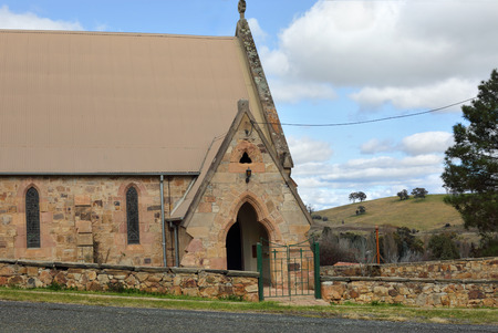 shalom: Shalom House of Prayer, rustic hewn sandstone church in rural outback Carcoar, Central West NSW, Australia