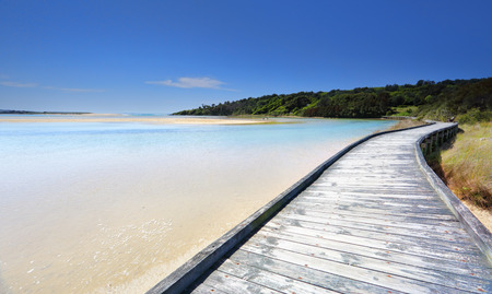australia landscape: The timber boardwalk at Wallaga on a beautiful sunny day Stock Photo