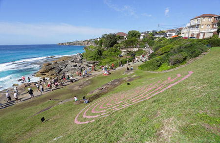 fabrication: BONDI, AUSTRALIA - OCTOBER 25, 2015;  Annual Sculpture by the Sea free public event.  Exhibit titled Fabrication by Veronica Herber - using minamalist lines to allow the landscape to inform the work.