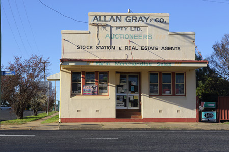 auctioneer: GOOLOOGONG, AUSTRALIA - SEPTEMBER 19, 2015;  One of the unique old buildings to be found in the outback township of Gooloogong. stock station and real estate agent and auctioneer