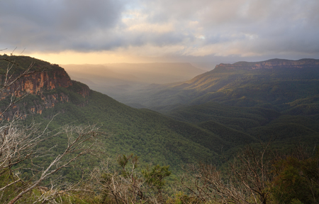 bushwalk: Misty rainy sunrise at Leura with great views across the Jamison valley to Mount Solitary receiving a glimpse of the sun rays.  It is also known as Korowal the lonely mountain to the Gundungurra People.