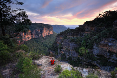 destress: Sitting on  the edge of wilderness, Blue Mountains Katoomba, watching the last colours of sunset fade.