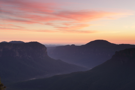 bushwalk: Spectacular dawn views from Pulpit Rock, Blackheath, north east aspect overlooking the Grose Valley with Mount Baniks directly ahead in the distance.  Beautiful pre dawn skies and mysterious dark valleys I stook in awe of what lay before me