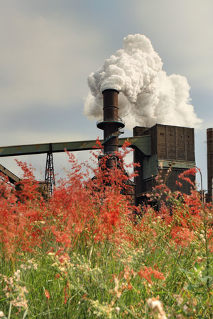 toxins: Steel mill smelter emitting toxic fumes and air pollutants billowing up and out of one of its many tall chimneys.  Pollutants can vary and include hydrogen fluoride, sulfur dioxide, oxides of nitrogen, offensive and noxious smoke fumes, vapors, gases, and