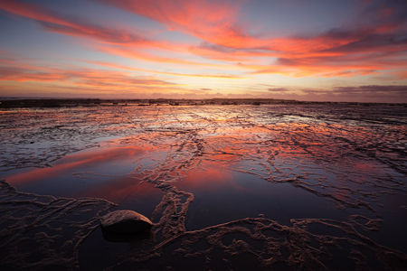 sensational: Low tide at Long Reef exposing rock that is usually underwater and lots of colourful reflections from a vivid sunrise sky.  A fisherman on the far rocks gives dimension of how vast the textured eroded reef area is youre viewing. Stock Photo