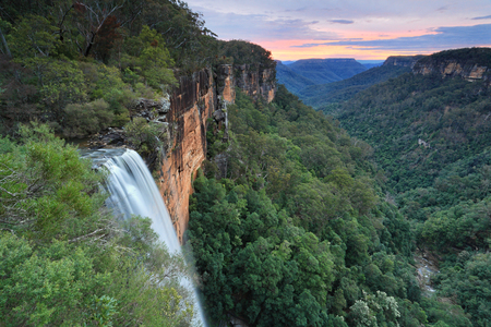 fitzroy: Sunset skies over Fitzroy Falls, Southern Highlands NSW Australia.  Morton National Park