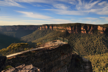 Pulpit Rock lookout is a multi-tiered lookout with 180 commanding views over the Grose Valley and Govets Leap arm of the Blue Mountains, Australia