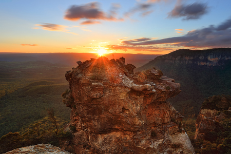 Sun setting over the Blue Mountains west of Sydney with views into the Megalong Valley