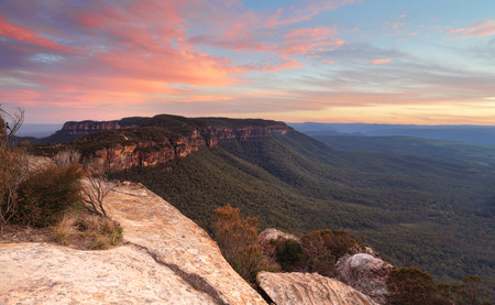 Sunset over Narrowneck Plateau, a sliver of rock that separates the Jamison and Megalong Valleys.