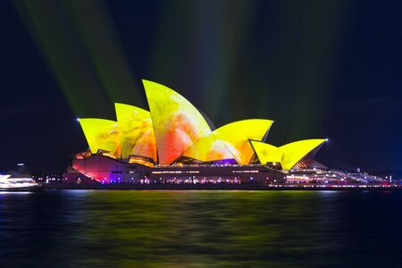Sydney, Australia - May 25, 2018;  Sydney Opera House lit with vibrant colours and patterns during the Annual Vivid Sydney celebrations