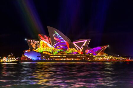 Sydney, Australia - May 25, 2018;  Sydney Opera House illuminated with bold vibrant colours  patterns and motion graphics during the Annual Vivid Sydney celebrations