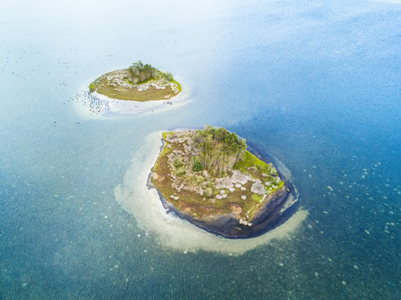 Two islands almost identical with a small clump of trees in their centre surrounded by coastal heath, rock and sand