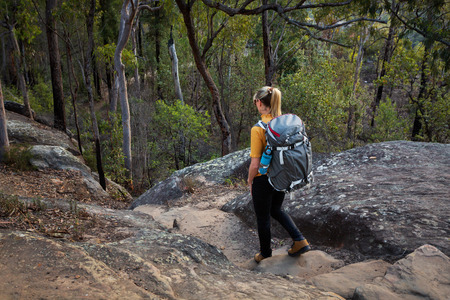 A female hiker bush walking in the Blue Mountains, Australia