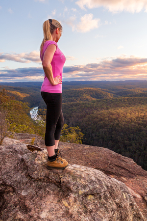 From the high rocky cliffs vantage point bushwalkers can take in the river snaking through the mountains and also see right across the tops of the Blue Mountains entire escarpment to Mt Banks