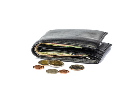 billfold: Wallet and coins isolated white background Stock Photo