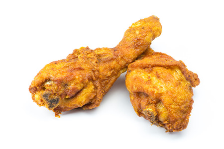 Fried chicken on white backgroun
