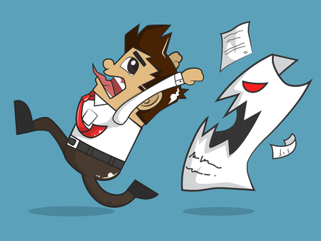 Businessman and Angry Paper 向量圖像