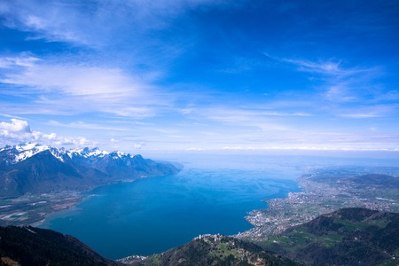 montreux: A lookout from Rocher-de-Naye mountain above Montreux of Switzerland, overlooking the well-known lake Geneva. Stock Photo