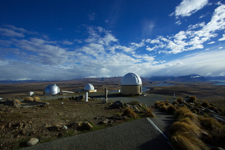stargazing: Mount John University Observatory is New Zealands premier astronomical research observatory. Looking towards the north, is offering a view to lake Tekapo, lake Alexandriana and Aoraki Mount Cook in the distance.