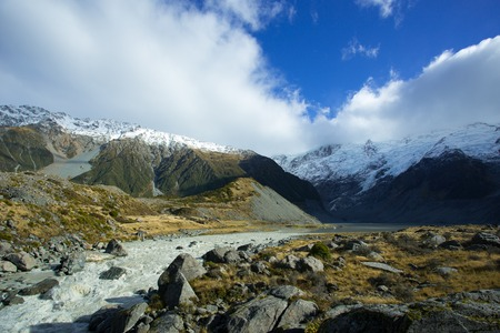 aoraki mount cook national park: Mueller Lake is fed from melting of the Mueller glacier, in the Hooker valley of Aoraki Mount Cook National Park. Overflow of the lake forms the Hooker river.