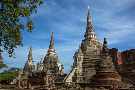 Wat temple Phra Si Sanphet was built over 600 years ago. The temple is on the site of the old Royal Palace in Thailand's ancient capital of Ayutthaya. Editorial