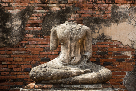 The sculpture was respectfully engaged placed at an ancient temple that built over 300 years ago, in Thailand's ancient capital of Ayutthaya.