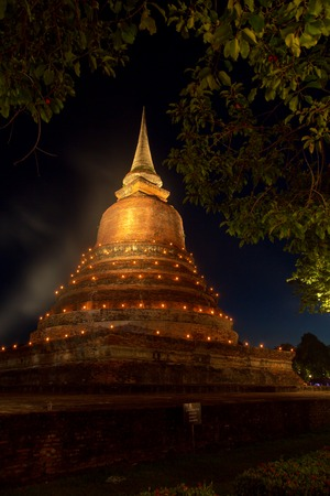 An ancient pagoda, placed at Wat temple Chana Songkram that was built about 700 years ago. The temple is part of the Sukhothai Historical Park, which is now a World Heritage site.