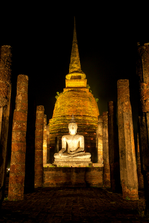 An ancient temple called Wat temple Sa Si that was built about 700 years ago. The temple is part of the Sukhothai Historical Park, which is now a World Heritage site.