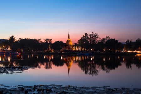 An ancient temple called Wat temple Sa Si that was built about 700 years ago, and surrounded by lagoons and greenery. The temple is part of the Sukhothai Historical Park, which is now a World Heritage site.