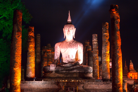 The Buddha image was respectfully engaged placed at an ancient temple called Wat temple Mahathat, that was built about 700 years ago. The temple is part of the Sukhothai Historical Park, which is now a World Heritage site.