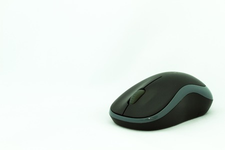 The mouse is two-toned, the black body intercalated with the grey stripe. This device is a wireless type.