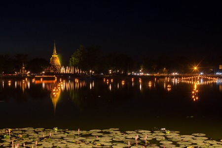 An ancient temple called Wat temple Sa Si that was built about 700 years ago, and surrounded by lagoons and greenery. The temple is part of the Sukhothai Historical Park,
