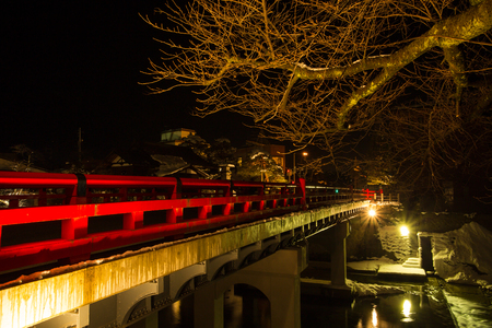 Nakabashi, the red bridge of Takayama is one symbol of the town. Takayama is voted as the most beautiful old town in Japan.