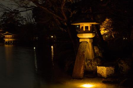 Kenrokuen located in Kanazawa, is one of the Three Great Gardens of Japan. One of the Kenrokuen's symbols, the Kotoji Toro is a two-legged stone lantern. Editorial
