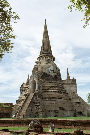 The Stupa placed at an ancient temple called Wat temple Phra Si Sanphet that was built over 600 years ago. The temple is on the site of the old Royal Palace in Thailand's ancient capital of Ayutthaya.