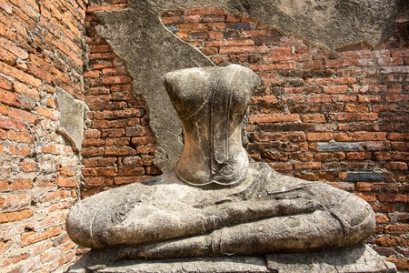 The sculpture was respectfully engaged placed at an ancient temple called Wat temple Chai Watthanaram that was  built over 300 years ago, in Thailand's ancient capital of Ayutthaya. Standard-Bild