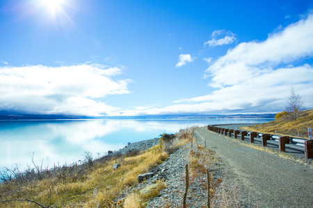Lake Pukaki has a distinctive color, that caused by glacial flour. The lake is fed from melting of the Tasman and Hooker Glaciers. The Lake Pukaki is located at center of South Island of New Zealand.