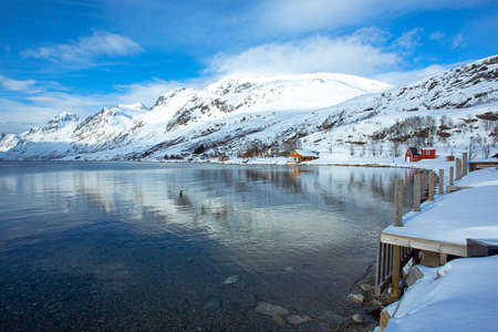 Ersfjordbotn is a village located on an isthmus between the Ersfjorden and the Kaldfjorden on the island of Kvaløy, about 15 kilometers west of the city of Tromsø in Northern Norway. Standard-Bild