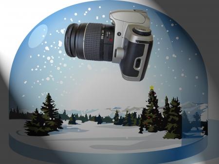 Snow globe with camera