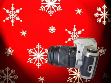 SLR camera before Christmas decoration