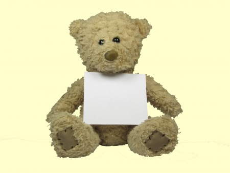 Teddy bear with a white sheet unbeschribenem