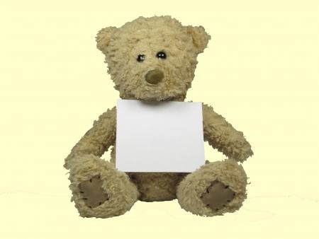 Teddy bear with a white sheet unbeschribenem