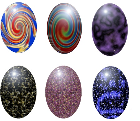 six colored Easter eggs Illustration