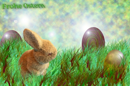 Greeting card with Easter bunny and Easter eggs