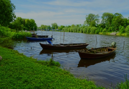 Boats moored in the river