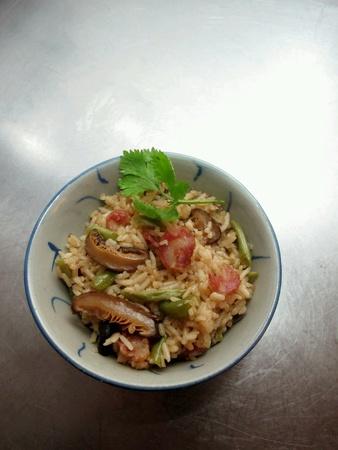 waxed: Fried Rice with Shiitake Mushrooms Stock Photo