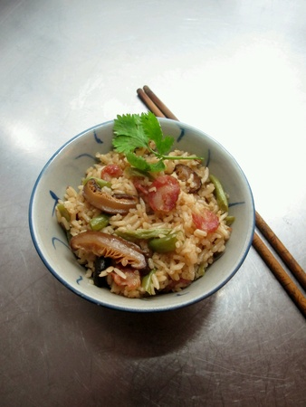 waxed: Fried Rice with Shiitake Mushrooms Chinese Waxed Sausages French Beans